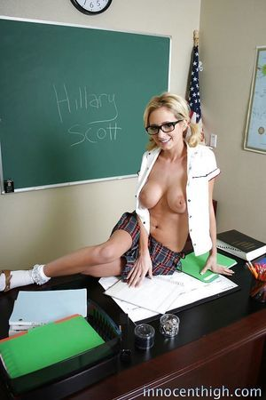 Cold-blooded blond schoolgirl Hillary taking off her short skirt and shirt