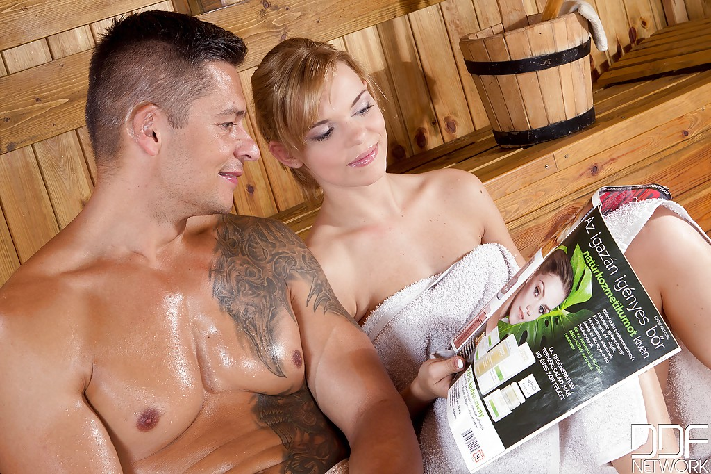 Teen blonde Baby Dream is riding on the dick right in the sauna