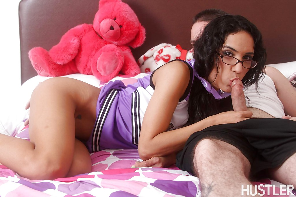 Cute brunette cheerleader in glasses sucks dick for cumshot on small tits