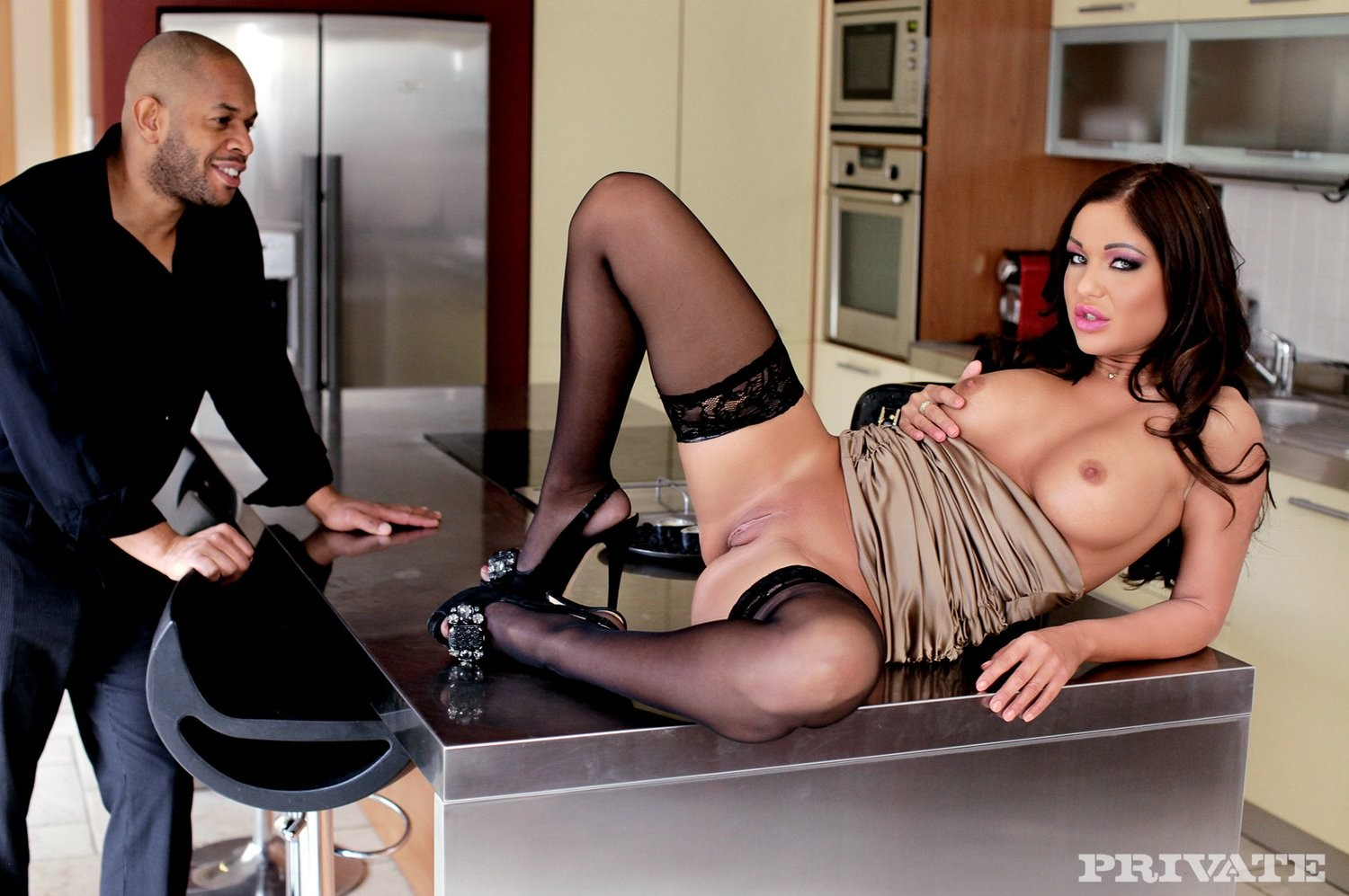 Appealing girl angelica heart takes cock right in her chocolate hole
