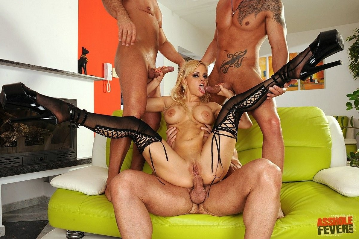 Blond britney gets anal gangbanged by 3 guys