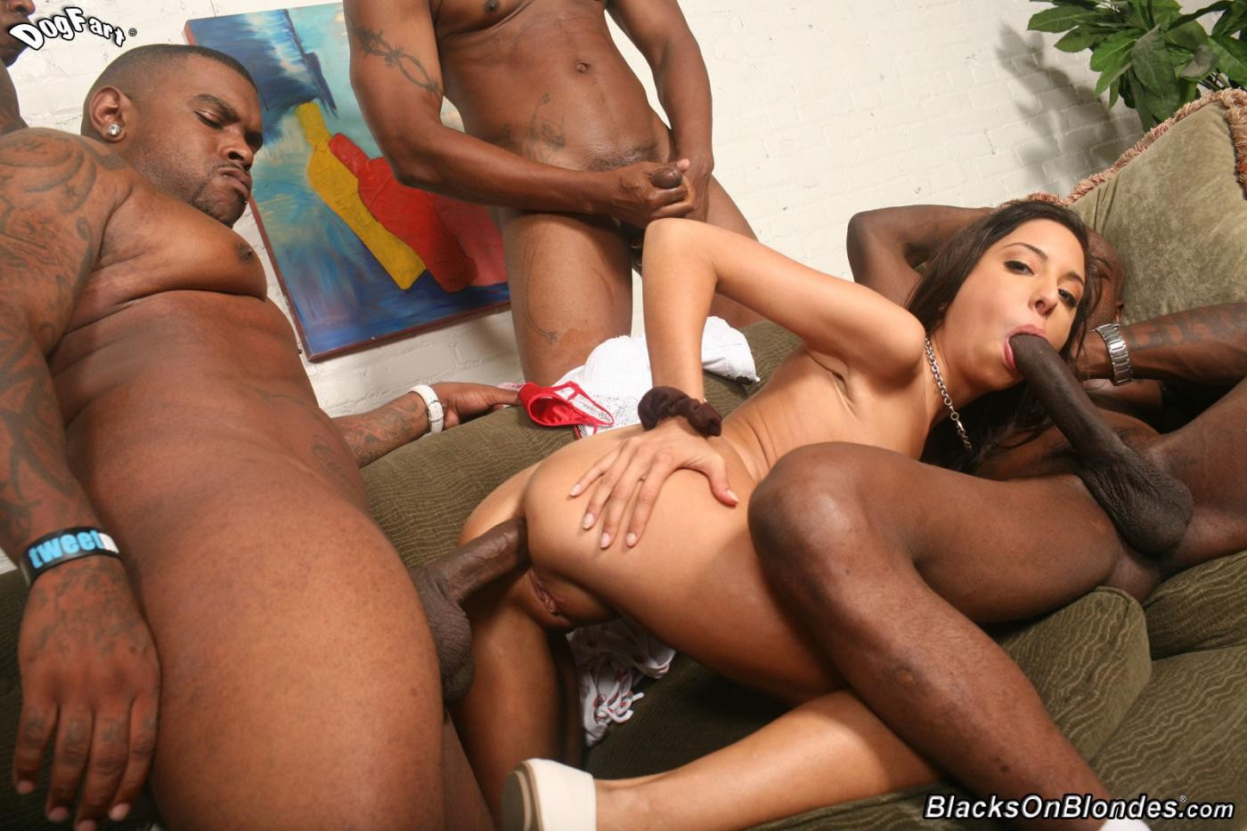 Sexy interracial orgy for trinity st clair having her face hole and a-hole owned w