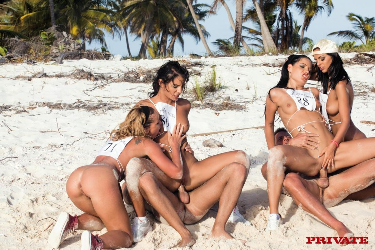 Four wild courtesans playing olympics the anal games on the beach
