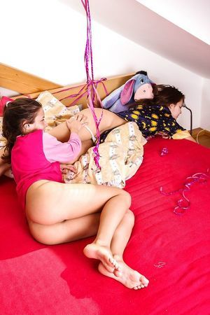 Lively young floosies have some girl-on-girl humping and rug munch joy
