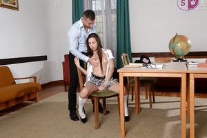 Amateur schoolgirl Abril fingering her muff during the time that delightful anal from teacher