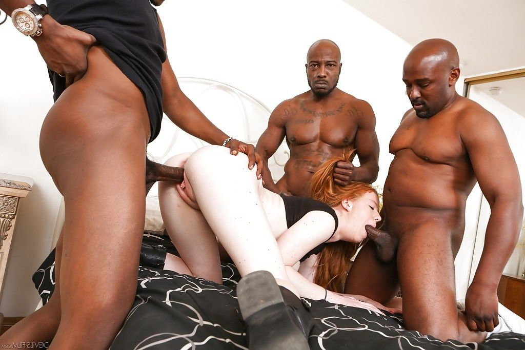 Kierra Wilde enjoys an Interracial gangbang with 3 ebony dudes