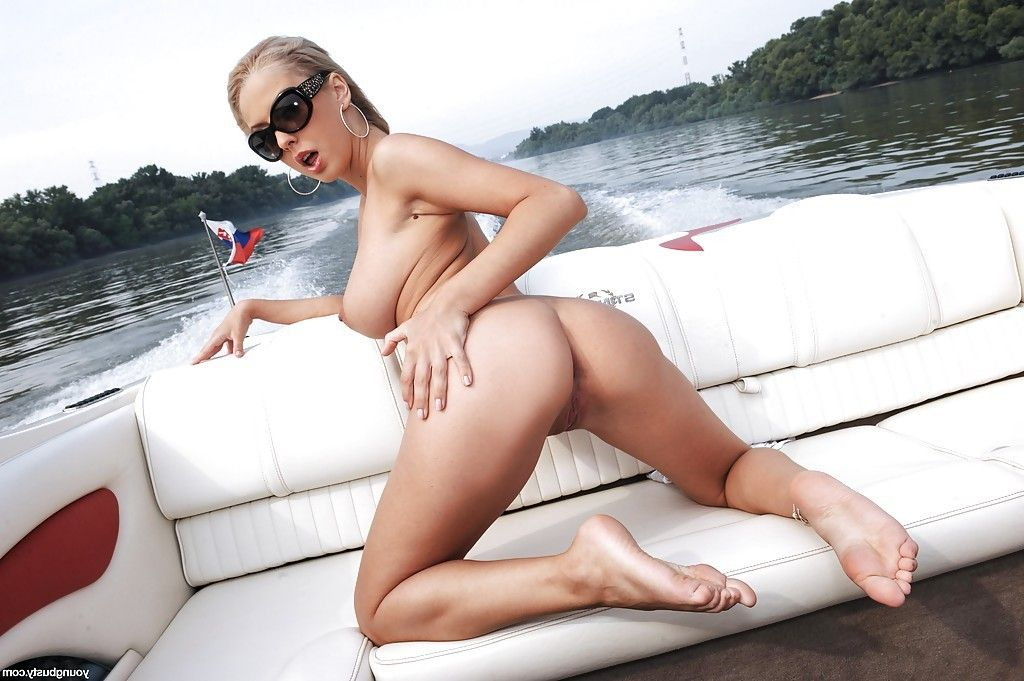 Juvenile and curvy Euro hottie Mandy I shedding bikini outdoors on boat