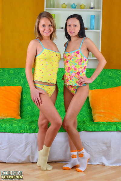 Youthful dolls Masha & Lollypop remove pleasing attire ahead of toying tense vaginas