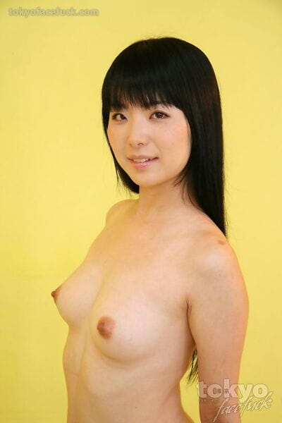 Attractive Japanese dear with undersize tits attached on her knees for oral-job