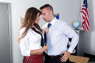 Major mounds of a sweet schoolgirl August Ames teased by her dude
