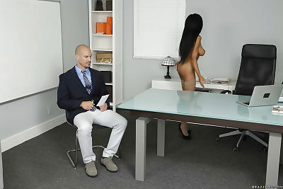 Ebon cutie Brittney White showing off immense average apples in glasses to boss