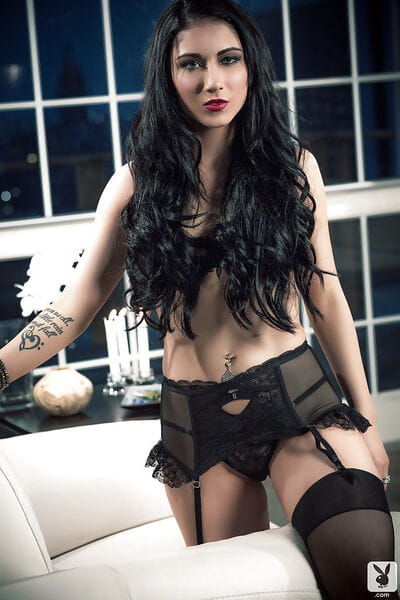 Dark hair pretty Lana James posing in brilliant and hawt ebon underware