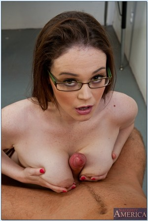 College amateur in glasses Tessa Lane drilled on the teacher\'s table