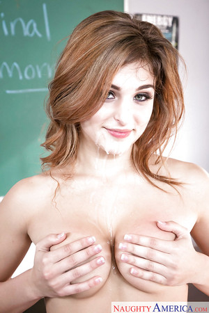 Curvy coed doxy in mini-skirt Leah Gotti taking in teacher\'s cock cream
