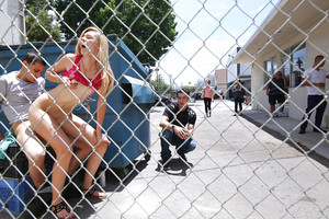 Blond young pornstar Alexa Grace admirable stream of cum on face in public place