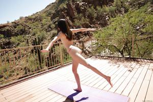 Cocer al vapor Coed Chica Emily Gris ¿ yoga ejercicios totalmente despojado