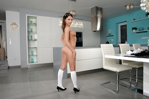 Sweet schoolgirl undressing in the chemistry lab exposing her mambos