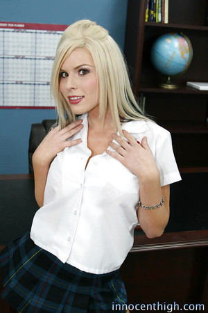 Blonde amateur Kenzi playing with dick in the office and shoting mammoth tits