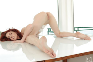 Stunning redhead youthful Elle Alexandra stretching adolescent smooth on top cunt