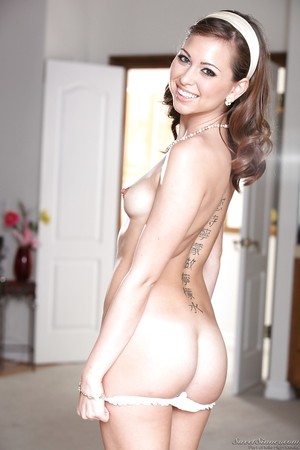 Fabulous babe Riley Reid slipping off her dress and underware