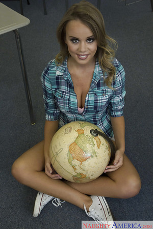 Spectacular coed Alexis Adams baring largest average tits in classroom