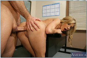 Sexually excited college babe Amy Brooke exposes undersize pointer sisters and receives buttfucked