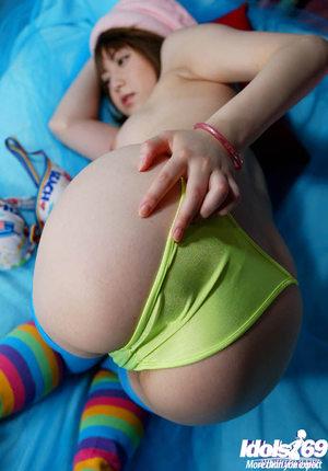 Japanese amateur Akiho Yoshizawa uncovering her petite titties and wavy bawdy cleft