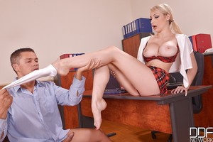 Infant fairy-haired Euro schoolgirl Chessie Kay using barefeet to jerk daddy shlong