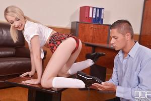 Infant fairy-haired Euro schoolgirl Chessie Kay using barefeet to jerk daddy shlong