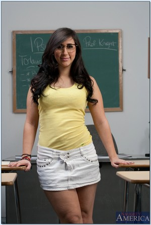 Titsy dark brown coed in glasses Valerie Kay striptease in the way