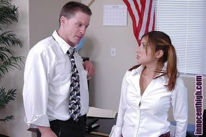 Lalin girl schoolgirl infant Sativa giving a ruthless damp fellatio in office