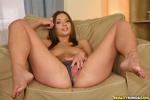 Desirable college adolescent Alice Miller exposing her shapely breasts and wazoo