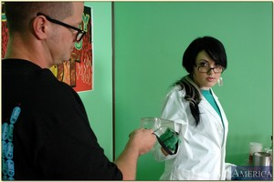 Vindictive coed in glasses acquires dicked hardcore in chemistry type