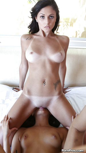 Seductive young brunettes have a bodily two men plus one female with a hung guy