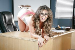 Nerdy schoolgirl Alice Lighthouse standing for naughty exposed pictures on desk