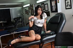 Latina tattoo instance Mara flashing upskirt strings and shaved juvenile cum-hole
