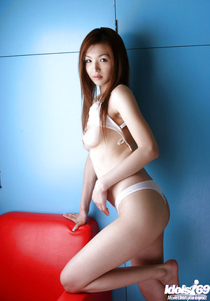 Gorgeous oriental honey with compact tits Mai Hanano slipping off her lingerie