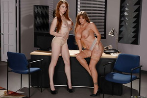 Grandpa and younger secretaries Darla Crane and Gwen Stark strip at plow up
