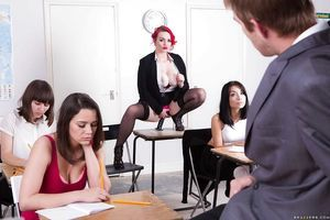 Buxom redhead schoolgirl Jasmine James makes public large juggs in classroom