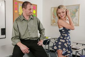 Slender reality angel with tiny pantoons Dakota Skye receives owned in classroom