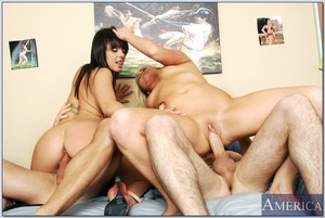 Appealing college cuties begin a hot gangbang in the dorm room