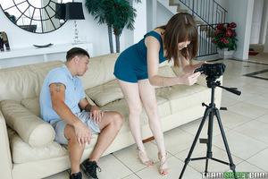 Slight teen girlfriend Nickey Huntsman giving a large shlong a oral play