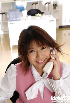 Seductive Japanese office pretty Mai Haruna erotic dancing off her