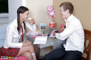 Wild teen schoolgirl is enjoying a hardcore sex intercourse