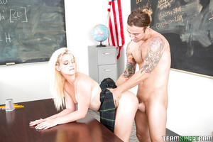 Boobsy blond schoolgirl Aubrey Gold taking rod in shaved cunt on desk