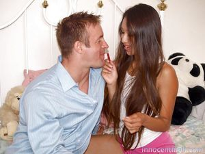 Decadent Asian brunette hair Cali Lee acquires a palatable wiener at finishing