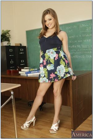 College beauty with miniscule breasts Ashlynn Leigh shows off uncovered on the desk