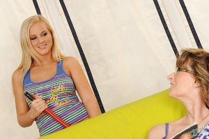 Lesbo juvenile babe Barbie White has love making act with a calm Judyt