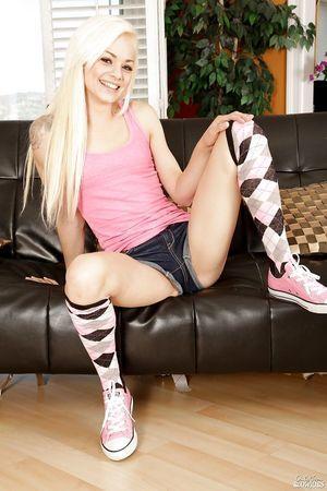 Miniscule platinum fairy teen Elsa Jean location seductively in argyle knee socks