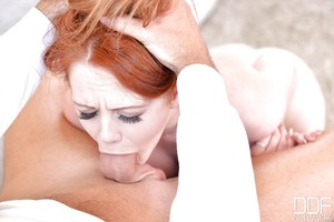 Diet redhead doll Ella Hughes getting chipmunked by vast snake
